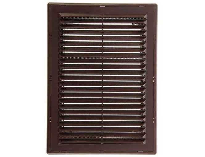 Решетка вентиляционная наклонная с сеткой, с рамкой коричневая 180х250 мм (1825Р)