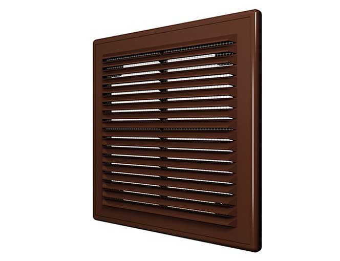 Решетка вентиляционная наклонная с сеткой с рамкой коричневая 150х150 мм (1515Р)