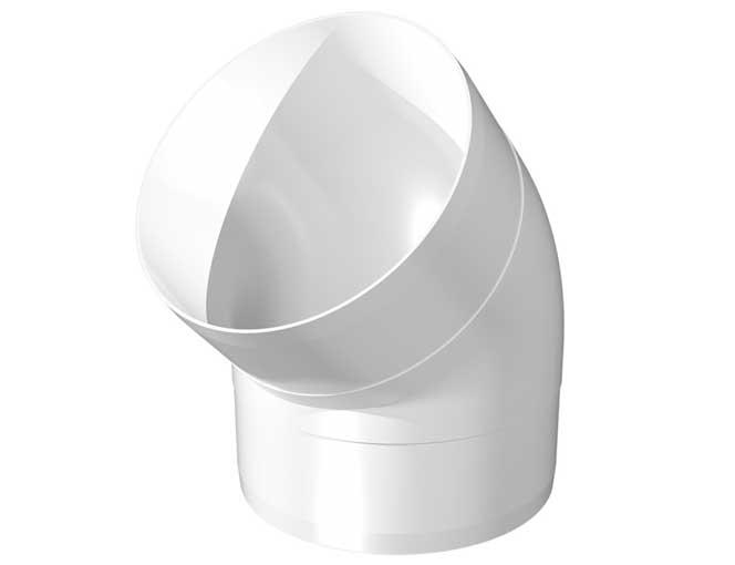 Колено круглое пластик угол 45, D125 (12,5 ККП)