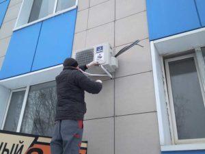 Внешний блок смонтирован на вентилируемый фасад