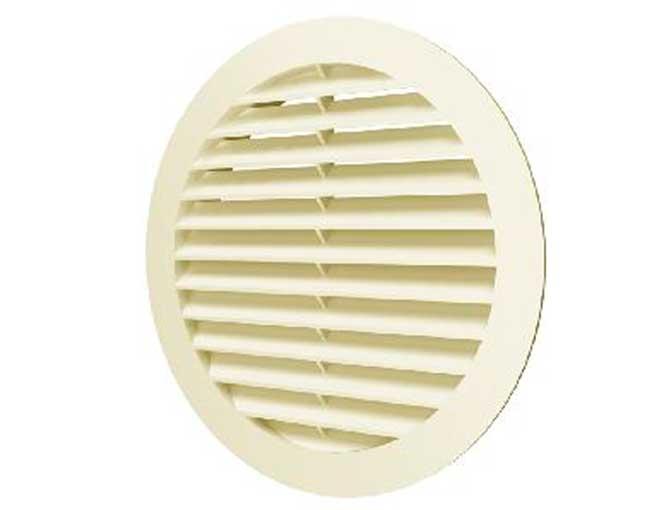 Решетка наружная ASA вентиляционная круглая с фланцем D 100 (10РКН Ivory)
