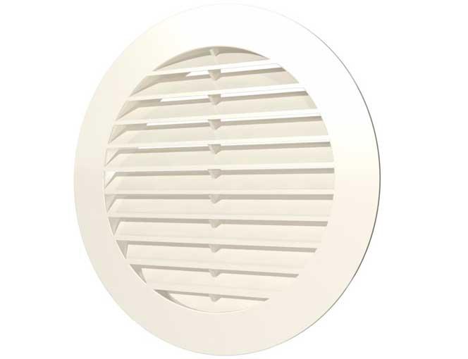 Решетка вентиляционная круглая с пластиковой сеткой вытяжная с АБС с фланцем D 100 (10РКС)